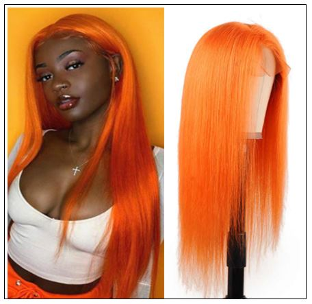 Straight Full Lace Orange Human Hair Wigs With Baby Hair 613 Honey Blonde Hair Full Lace Wig Pre Plucked Hair Transparent img