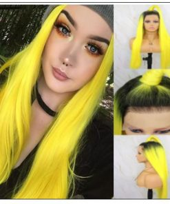T1B AND Yellow Ombre Straight Lace Front Human Hair Wig 3-min
