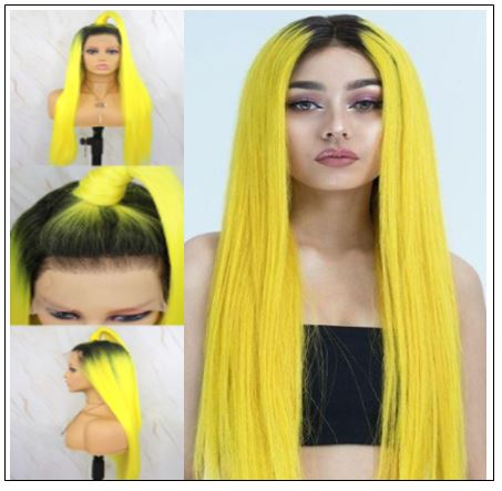 T1B AND Yellow Ombre Straight Lace Front Human Hair Wig 4-min