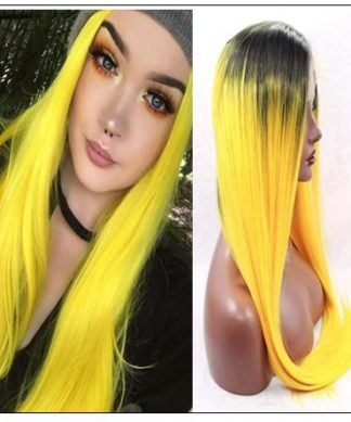 T1B AND Yellow Ombre Straight Lace Front Human Hair Wig IMG-min