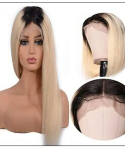 Two Tone Wigs Straight Blonde Lace Front Wig With Dark Roots T1B 613 2-min
