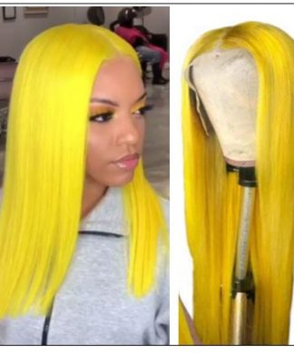 Yellow Best Pre Plucked Full Lace Wigs Straight Human Hair img-min