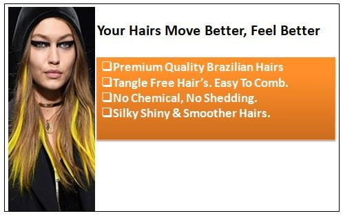 Yellow Clip In Hair Extensions 1-min