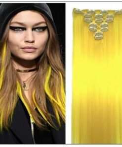 Yellow Clip In Hair Extensions img-min