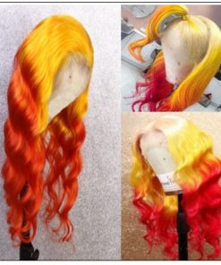 Yellow Ombre Red Lace Front Wigs Body Wave Long Remy Hair for Women 2-min