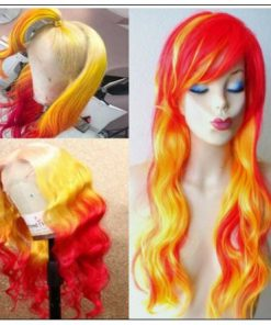 Yellow Ombre Red Lace Front Wigs Body Wave Long Remy Hair for Women 3-min