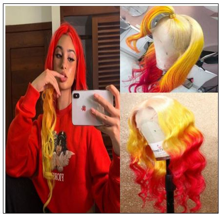Yellow Ombre Red Lace Front Wigs Body Wave Long Remy Hair for Women img-min