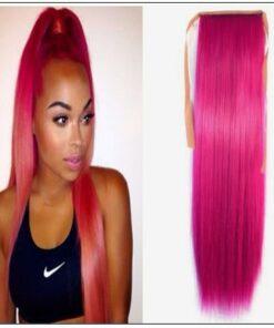 hot pink ponytail hair extension img-min
