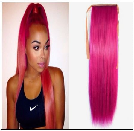 hot pink ponytail hair extension img-min