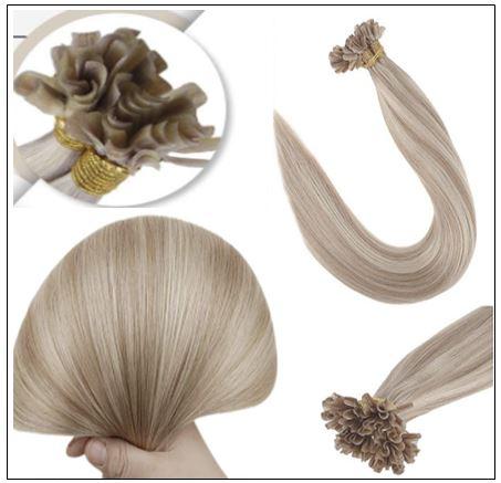 Ash Blonde Highlights Platinum Blonde U Tip Hair Extensions 2-min