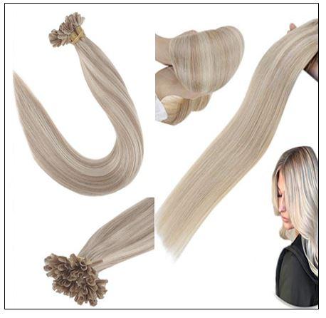 Ash Blonde Highlights Platinum Blonde U Tip Hair Extensions 4-min