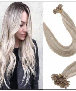 Ash Blonde Highlights Platinum Blonde U Tip Hair Extensions img-min