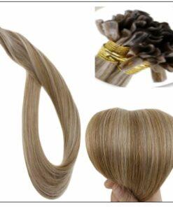 Golden Brown With Golden Blonde Colour U Tip Hair Extension 2-min