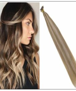 Golden Brown With Golden Blonde Colour U Tip Hair Extension img-min