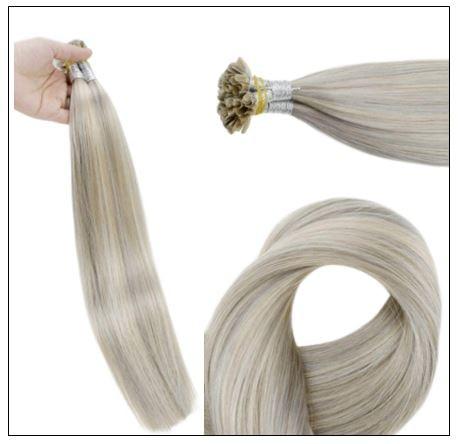 Grey Blonde With Platinum Blonde U Tip Hair Extension 2-min