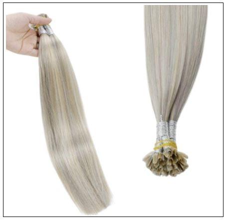 Grey Blonde With Platinum Blonde U Tip Hair Extension 3-min