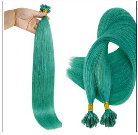 I Tip Extensions Teal Color Human Hair Keratin Hair Extensions 2-min