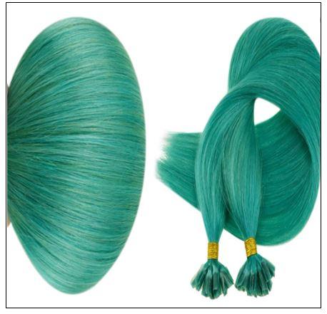 I Tip Extensions Teal Color Human Hair Keratin Hair Extensions 3-min