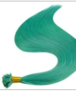 I Tip Extensions Teal Color Human Hair Keratin Hair Extensions 4-min
