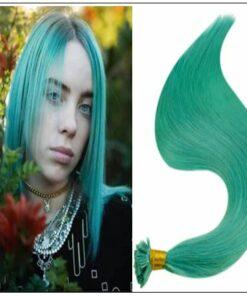 I Tip Extensions Teal Color Human Hair Keratin Hair Extensions img-min