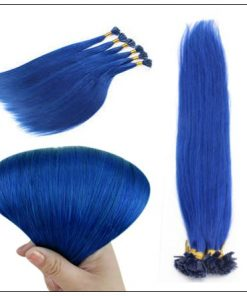 I Tip Hair Keratin Multi-Colors Blue Keratin Human Hair 3-min