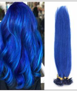 I Tip Hair Keratin Multi-Colors Blue Keratin Human Hair img-min