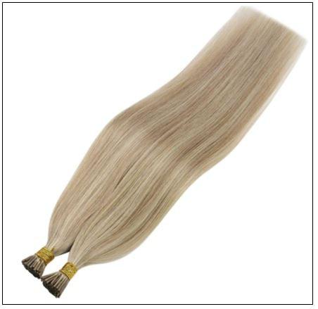 I Tip Light Blonde Highlights Golden Blonde Keratin Human Hair 3-min
