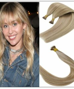 I Tip Light Blonde Highlights Golden Blonde Keratin Human Hair img-min