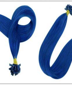Keratin Hair Blue Color U Tip Hair Extensions 2-min