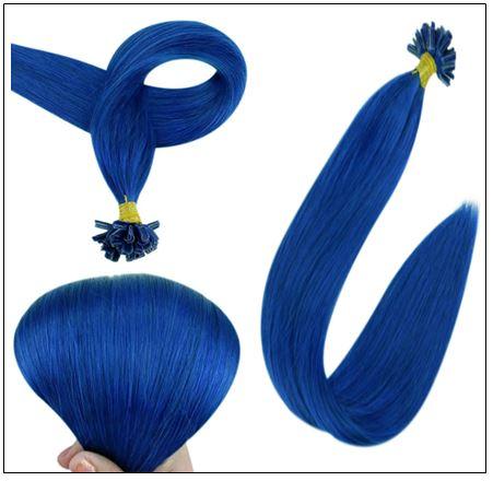 Keratin Hair Blue Color U Tip Hair Extensions 3-min