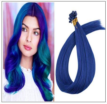 Keratin Hair Blue Color U Tip Hair Extensions img-min