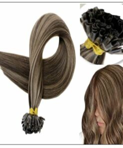 Natural Wave Colour 2P8A Darkest Brown with Light Brown U Tip Hair Extensions 2-min