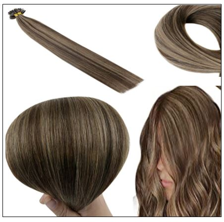 Natural Wave Colour 2P8A Darkest Brown with Light Brown U Tip Hair Extensions 3-min