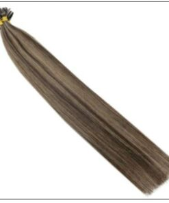 Natural Wave Colour 2P8A Darkest Brown with Light Brown U Tip Hair Extensions 4-min