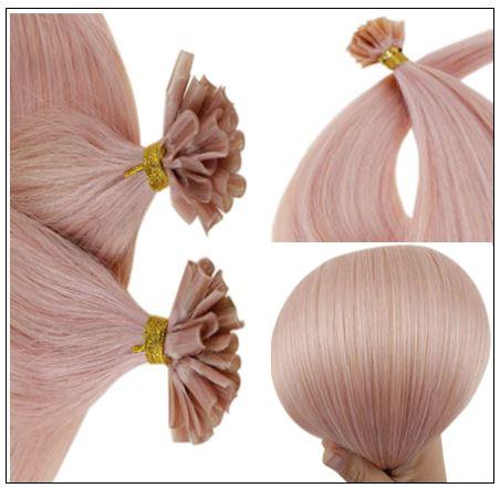 Pink Hair Extensions Keratin Nail Tip Extensions 2-min