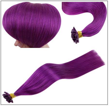 Purple Color U Tip Hair Extensions 3-min