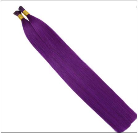 Purple Human Hair Keratin Purple I tip Hair Extensions 2