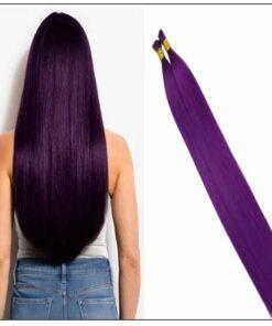Purple Human Hair Keratin Purple I tip Hair Extensions img
