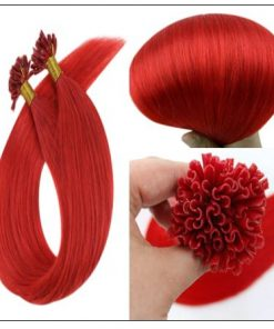 Red Color U Tip Hair Extensions 2-min
