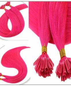U Tip Hair Extensions Human Hair Hot Pink Hair Extension 2-min