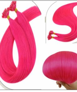 U Tip Hair Extensions Human Hair Hot Pink Hair Extension 3-min