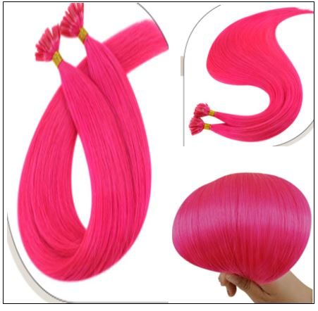 U Tip Hair Extensions Human Hair Hot Pink Hair Extension 3-min