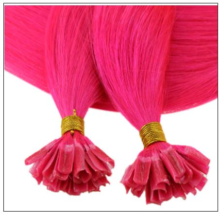 U Tip Hair Extensions Human Hair Hot Pink Hair Extension 4-min