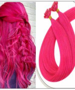 U Tip Hair Extensions Human Hair Hot Pink Hair Extension IMG-min