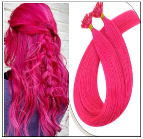 U Tip Hair Extensions Human Hair Hot Pink Hair Extension IMG-min