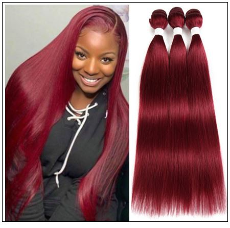 Wine Color Bundles 100% Natural Remy Human Hair img