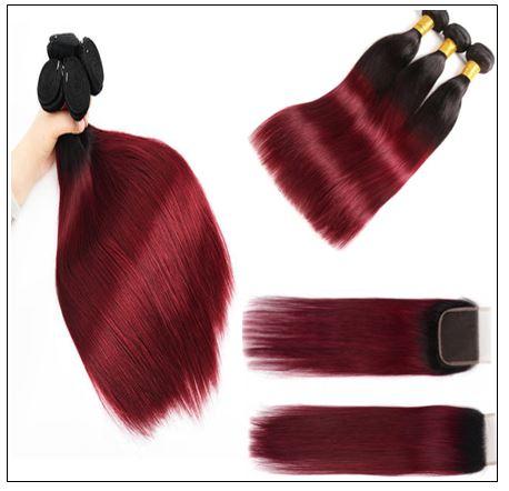 burgundy ombre bundles with closure 2..-min