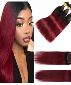 burgundy ombre bundles with closure img-min