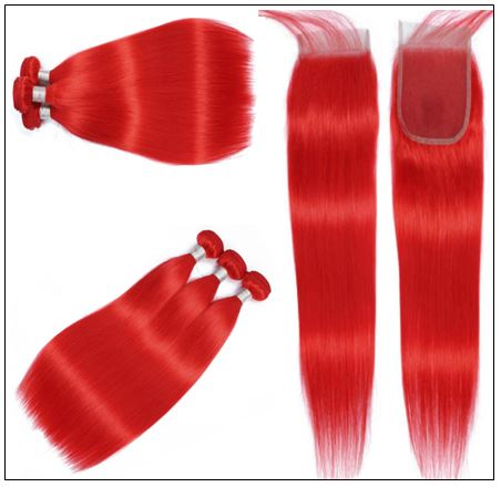 red brazilian bundles with closure 4