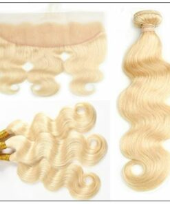 100%human hair unprocessed 613 Color Body Wave 3 Bundles With 13x4 Lace Frontal 2-min
